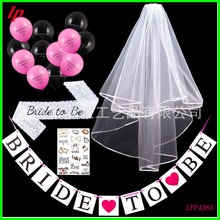 Spot singles party bride head gauze lace shoulder strap balloon gilded tattoo pull suit