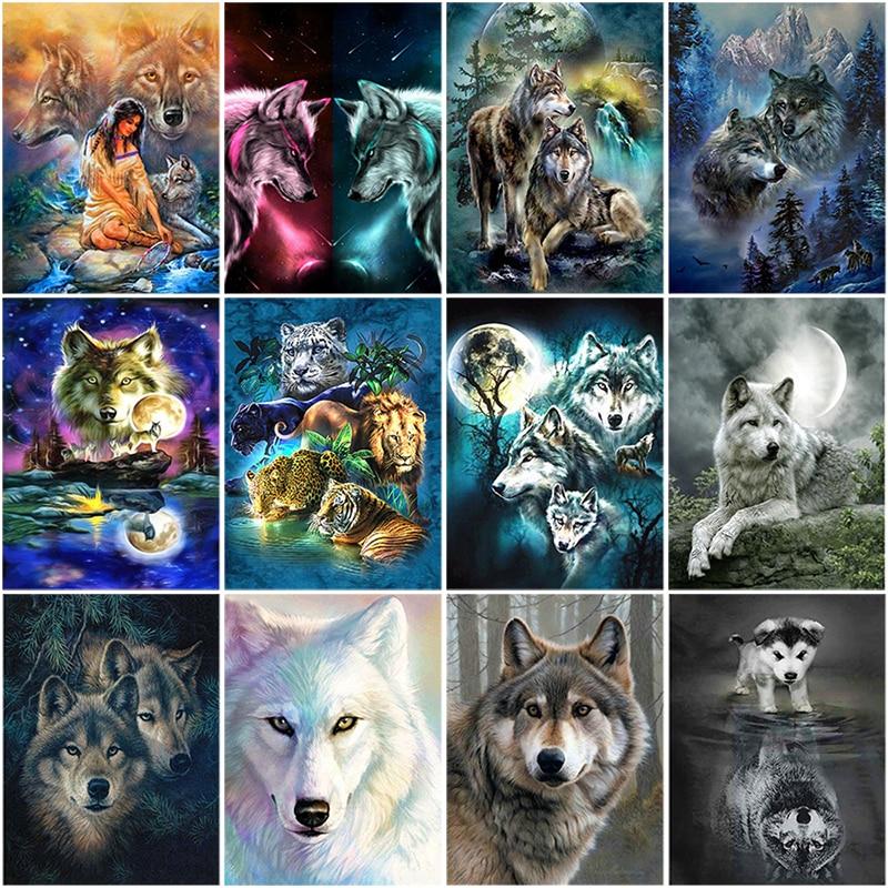 Animals Wolf 5D Diamond Painting DIY Embroidery Cross Stitch Kit Home Art Decor