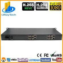 HEVC 1U 4 Канала SD HD 3g SDI к IP потоковый кодировщик 4Ch H.265 H.264 кодировщик RTMP RTMPS для потоковая трансляция в прямом эфире, IPTV