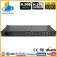 HEVC 1U 4 Channels SD HD 3G SDI To IP Streaming Encoder 4Ch H.265 H.264 Encoder RTMP RTMPS For Live Streaming Broadcast, IPTV