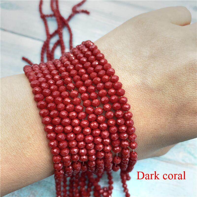 40 цветов 1 нить 2X3 мм/3X4 мм/4X6 мм хрустальные бусины rondelle хрустальные бусины стеклянные бусины для самостоятельного изготовления ювелирных изделий - Цвет: Dark Coral