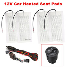 4 adet 12V karbon Fiber araba ısıtmalı klozet kapağı yastık pedi kiti 3 seviye yüksek düşük sıcaklık anahtarı evrensel araba sıcak isıtma klozet kapağı s