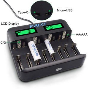 Image 4 - PALO 8 Slots smart LCD Display AA Battery Charger for AA AAA SC C D size battery 1.2V Ni MH Ni CD rechargeable battery batteries