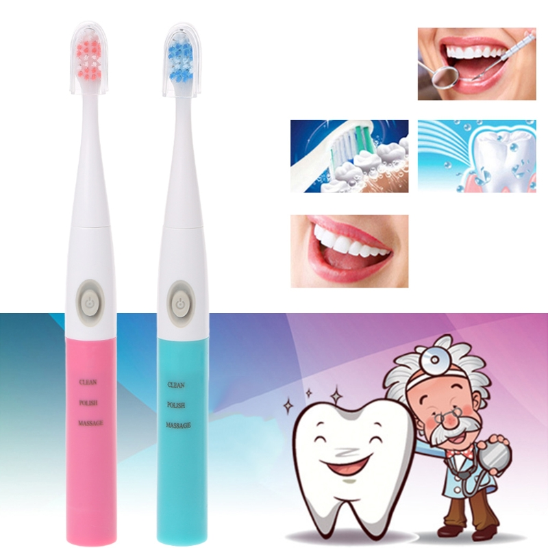 1set Sonic Electric Toothbrush Adult Automatic Soft-bristled Portable Dry Battery Power With Three Heads image