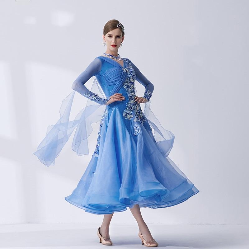 The New National Standard Modern Dance Clothing Big Pendulum Dress Practice Clothing Ballroom Dancing Waltz-B19117