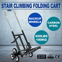 330 LBS Capacity Stair Climber Cart Folded Height Folding Stair Climbing Cart Three-Wheel Chassis Portable Stair Climber Hand