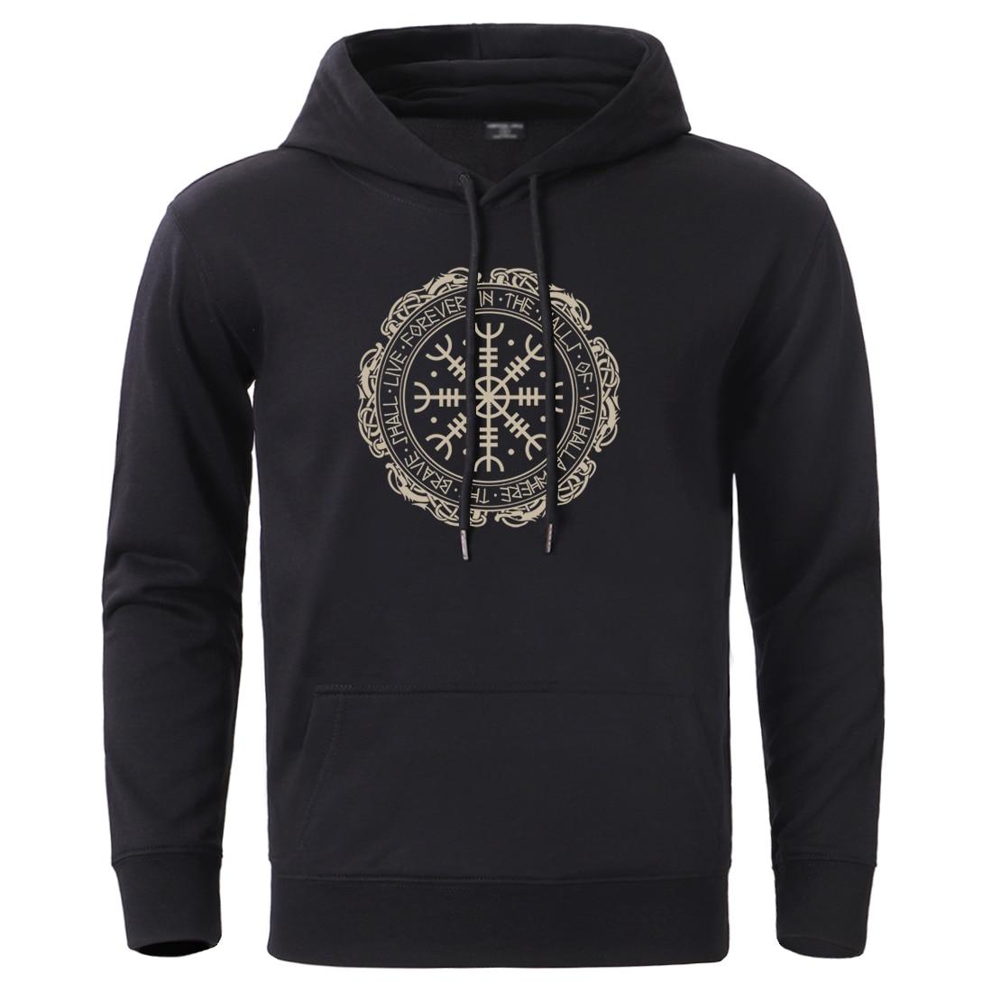 Vikings Sweatshirt Mens Son Of Odin Hoodies Pullover Winter Spring Long Sleeve Gone To Valhalla Black Sportswear Tracksuit Hoody