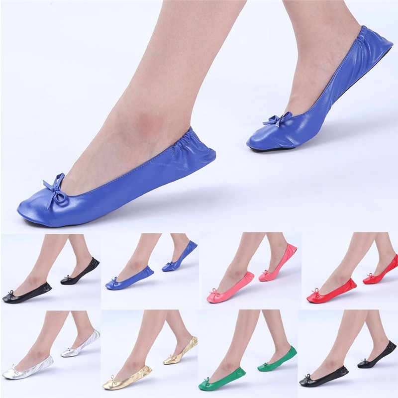 Women Soft Ballet Shoes Foldable Portable Travel Flat Roll Slipper Shoes Ballet Dance Party Pointe Shoes #2g29