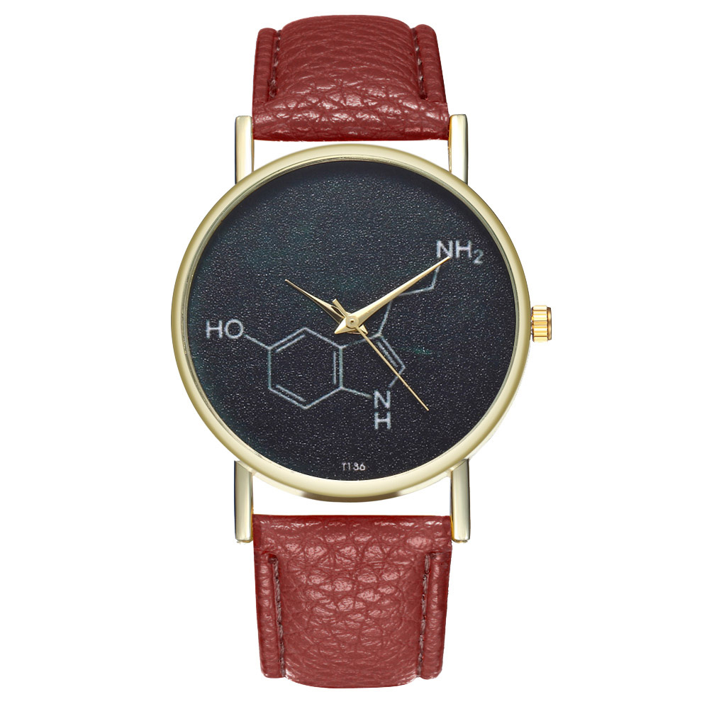Students Casual Watches Chemical Molecule Round Dial Soft Leather Strap Watches Fashion Quartz Watches Gifts For Men Women  TH36