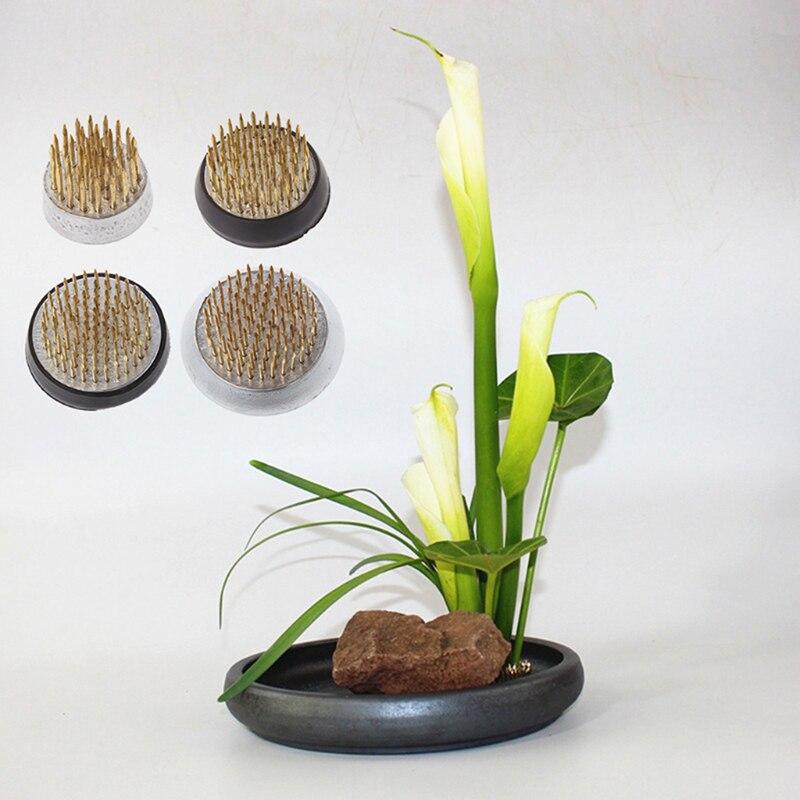 Round Japanese Flower Holder Frog Art Fixed Tools Flower Arrangement Insert Base Ishizaki Kenzans Pin Art Fixed Tools Pot Trays Aliexpress