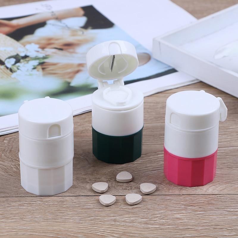 Grinder Splitter Tablet Cutter Divider Storage Case Pill Box Cutting Tablets Pill Cutter Medicine Crusher 3Colors