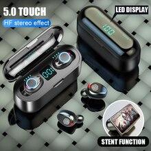 무선 이어폰 블루투스 V5.0 F9 TWS LED 디스플레이 2000mAh 전원 은행 헤드셋 마이크 무선 블루투스 헤드폰