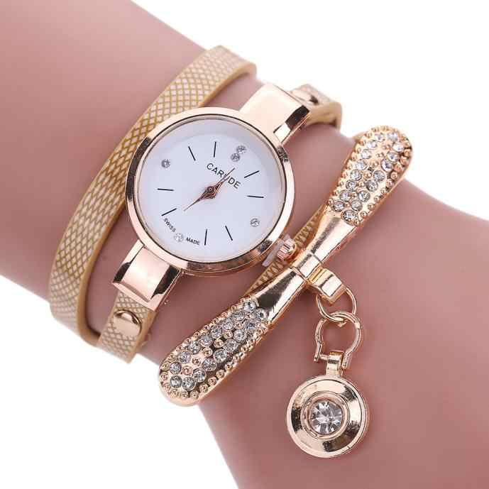 Women Watches Fashion Casual Bracelet Watch Women Relogio Leather Rhinestone Analog Quartz Watch Clock Female Montre Femme P20