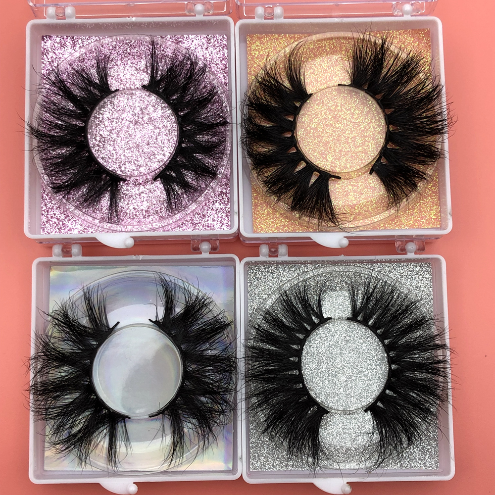 Top SaleMikiwi 25mm Lashes Label Case-Packaging Makeup-Box Glitter-Paper Square Free-Custom-Logo