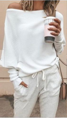 Off Shoulder Batwing Sleeves Women T-shirts Ribbed Knitted Pullover Loose T Shirts Tops 2019 Autumn Female Knitwear Jumper