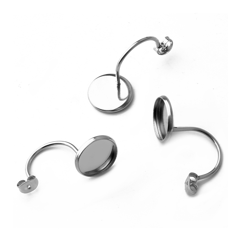 10pcs Classic Stainless Steel French U Shape Ear Hook Fit 10/12mm Glass Cabochon Blank Earrings DIY Jewelry Supplies