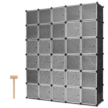 Costway DIY 30 Cube Portable Closet Storage Organizer Clothes Wardrobe Cabinet W Doors