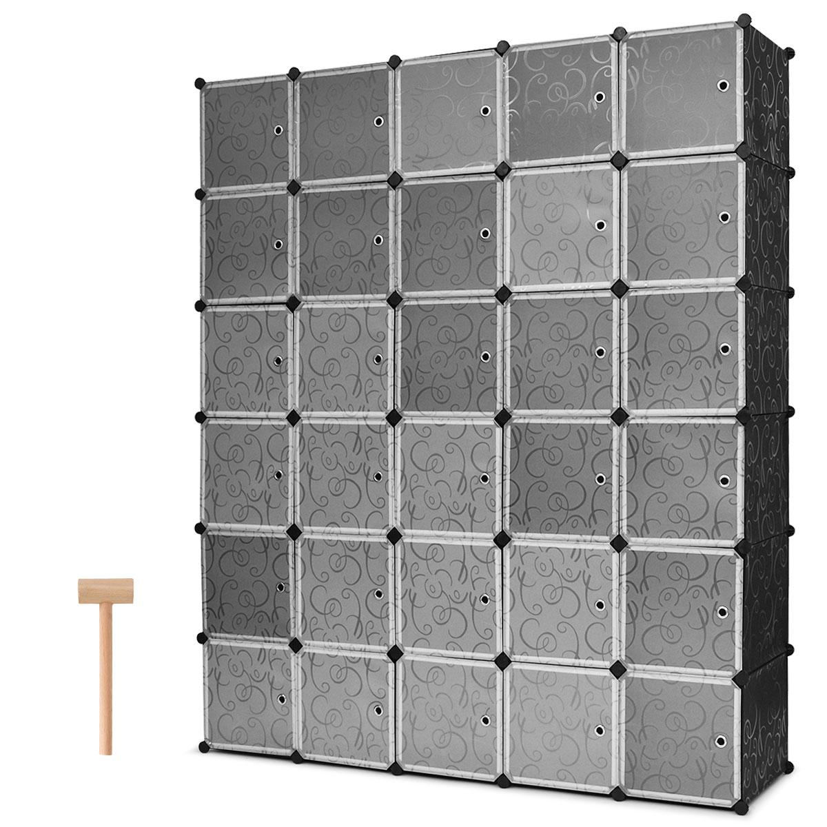 Costway DIY 30 Cube Portable font b Closet b font Storage Organizer Clothes Wardrobe Cabinet W