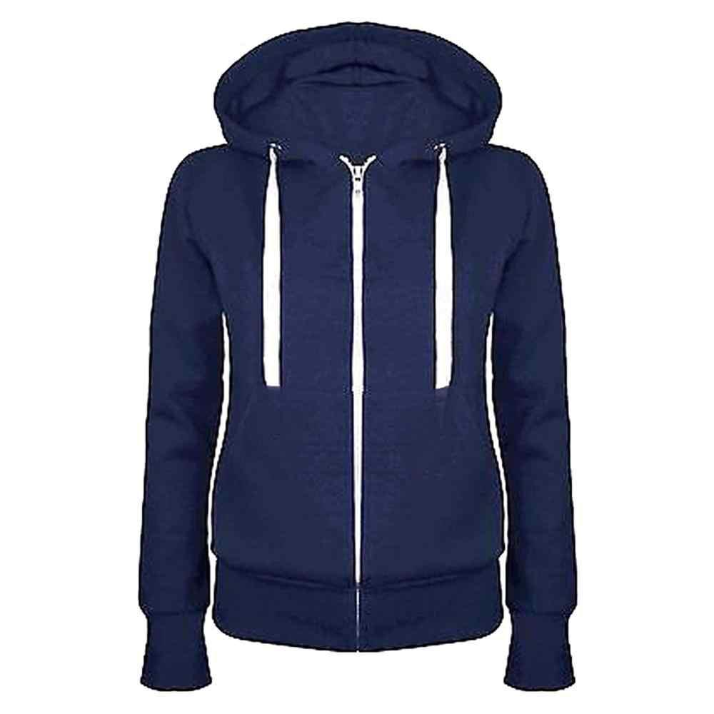 캐주얼 여성 솔리드 컬러 긴 소매 까마귀 겨울 따뜻한 후드 티셔츠 여성 까마귀 지퍼 클로저 코트 블랙/블루/레드/그레이