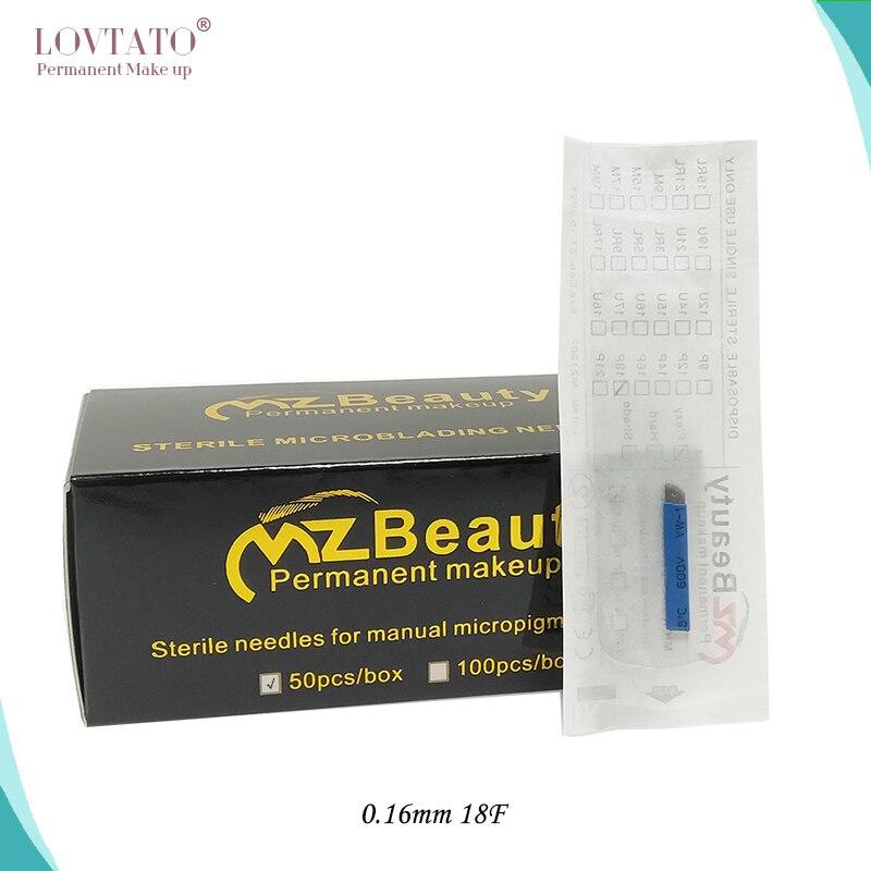 18Flat Dia 0.16mm Nanao Microblading Needles Cosmetics Permanent Makeup Pen Needle MZ Beauty Tattoo Agulha LOT No. EXP Day 50pcs