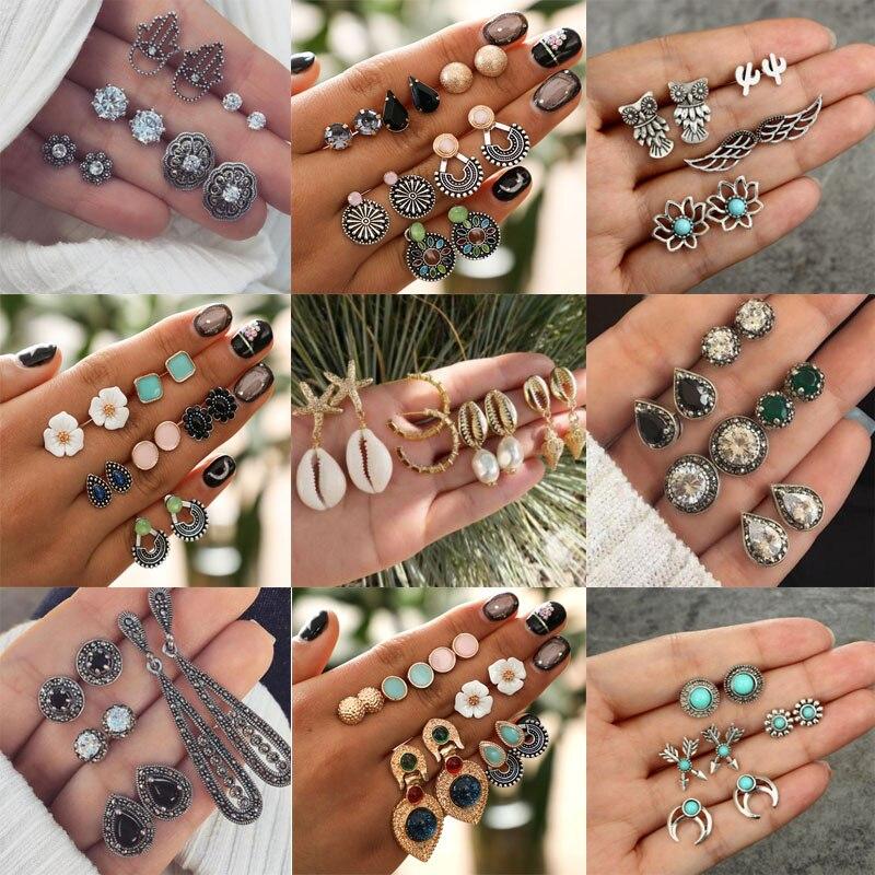 Набор винтажных геометрических сережек-гвоздиков в 10 стилях для женщин, модные маленькие серьги-гвоздики с ракушками, цветами, звездами и к...