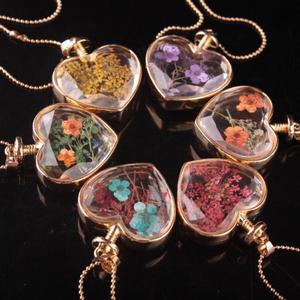 Золотая цепочка, круглые бусины, Женская цепочка для свитера, ювелирное изделие, модное стекло в форме сердца, флакон духов, настоящий кулон ...