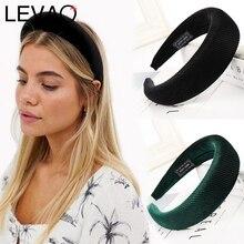 LEVAO, модные, западный стиль, новые, однотонные, уплотненные, мягкие повязки на голову, ободок, тюрбан, женские повязки на голову, аксессуары для девочек, головные уборы