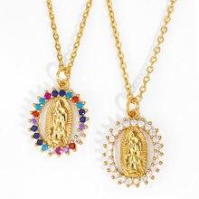 Arco-íris virgem maria colares para mulheres correntes de ouro colar de cristal paz zircon jóias católicas virgen de guadalupe nkeq94