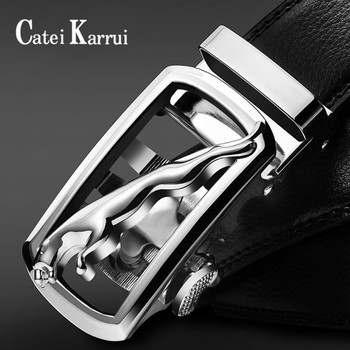 Catei Karrui Men's Comfort Genuine Leather Ratchet Dress Belt with Automatic Click Buckle  High Quality Cow Genuine Leather Belt 2017new pgm golf belts men s genuine leather ratchet dress belt with alloy automatic buckle