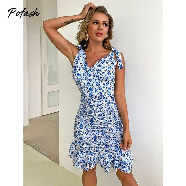 Pofash Floral Print Blue Summer Dresses Women V Neck Sexy Backless Spaghetti Strap Bodycon Dress Ruffle Mini Dress 2021 Vestidos 4