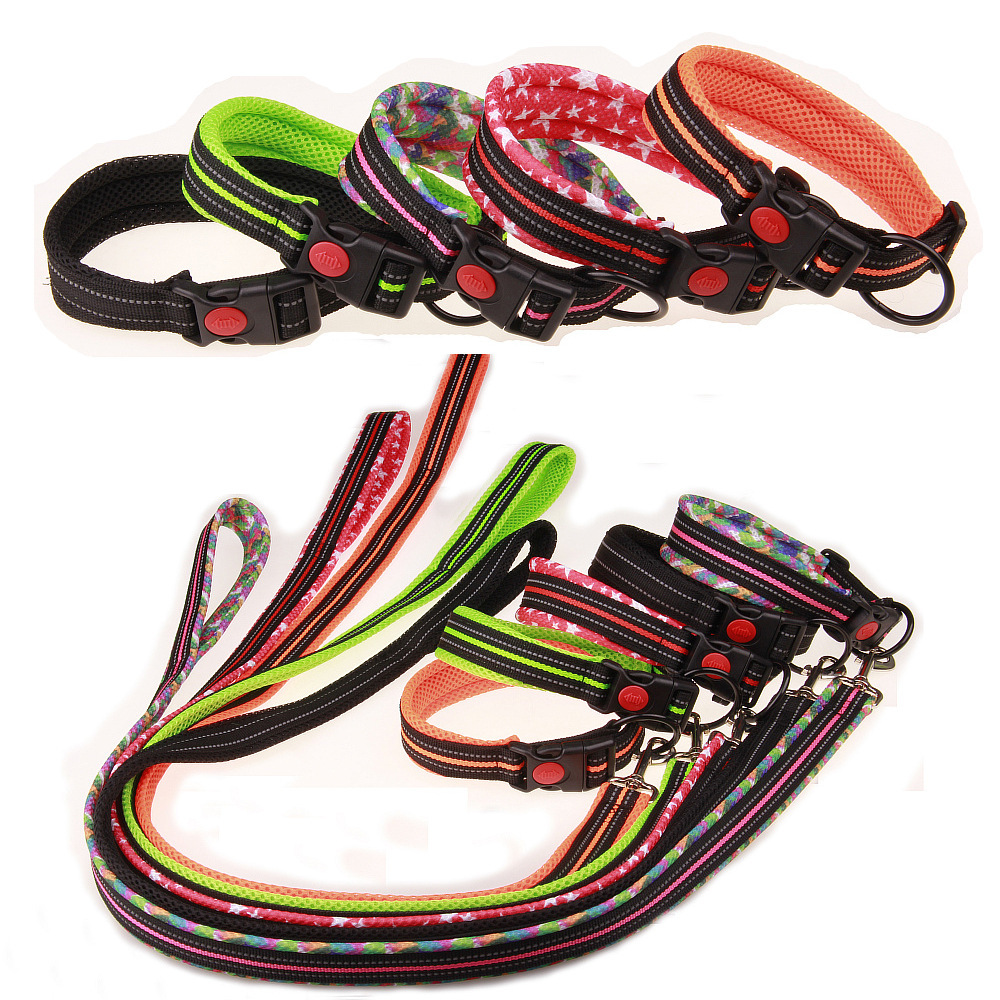 Mesh Pet Collar Dog Pulling Rope Traction Belt Sandwich Pet Dog Collar Safe Pet Supplies