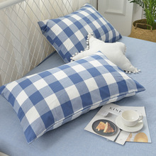 New Products Simple Washed Cotton Pillowcase MUJI-style Plaid Summer Special Offer