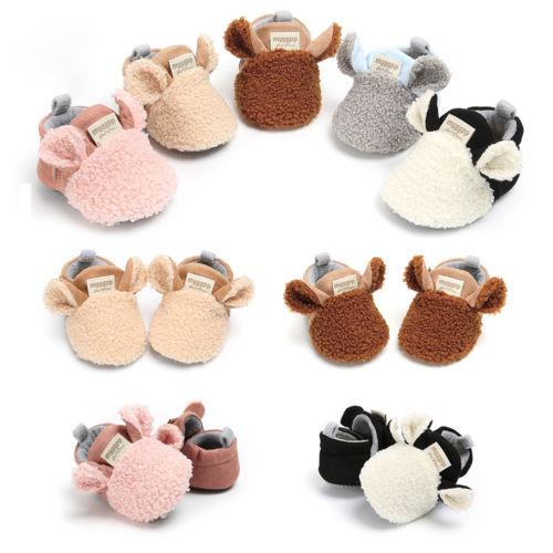 Toddler Newborn Baby Crawling Shoes Boy Girl Lamb Slippers Prewalker Trainers Fur Winter Animal Ears First Walker