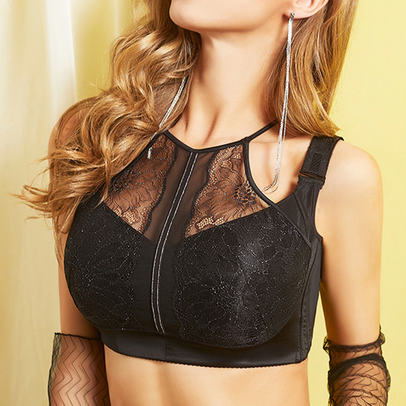 Plus Size <font><b>Sexy</b></font> <font><b>Lace</b></font> Embroidery Suppotive <font><b>Push</b></font> <font><b>Up</b></font> Halter <font><b>Bra</b></font> for Women Full <font><b>Cup</b></font> Wireless Underwear 34 36 38 40 42 44 46 C <font><b>D</b></font> E F G image