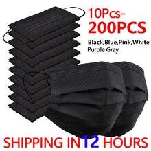 10-200 pces máscara descartável máscara facial preto nonwove 3 camada máscara boca filtro anti poeira respirável máscaras adultas protetoras navio rápido