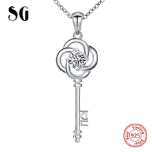 2018 Authentic 925 sterling silver key pendant chain necklace with Cubic Zirconia diy fashion jewelry making for women gifts jewelrypalace authentic 925 sterling silver pendants necklace crown wings honey bee pendant without chain cubic zirconia jewelry