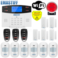 W2BW LCD Keypad WIFI GSM PSTN Home Burglar Security Wireless Wire Alarm System Motion Detector APP Control Fire Smoke Detector