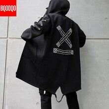 Winter Long Trench Coat Men Letter Print Military Style Hooded Windbreaker Black