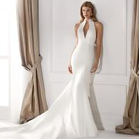 Vivian's Bridal Simple High Neck Refective Satin Wedding Dress 2019 Sexy Cut out Backless Bow Court Train Mermaid Bridal Dress