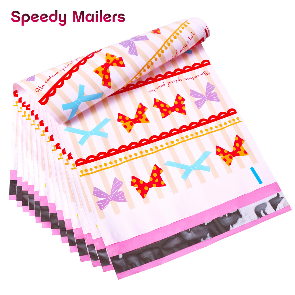 Speedy Mailers 100pcs 26*33cm 10*13 Inch Printed Bow-knot Pattern Poly Mailers Self Seal Plastic Mailing Envelope Shipping Bags