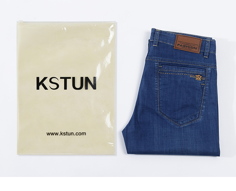 KSTUN 2020 New Arrivals Mens Jeans Blue Business Casual Denim Pants Full Length Trousers