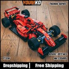 Série de alta tecnologia equação f1 supercar vermelho carro corrida criador blocos de construção 1072pcs tijolos educação brinquedos presente modelo conjuntos