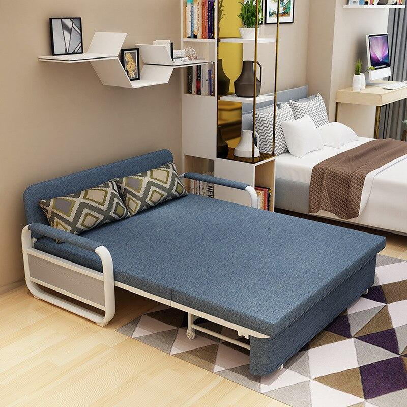 Canapé-lit moderne pliable simple double petit canapé en tissu multifonctionnel