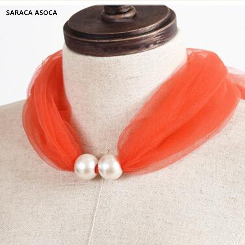 Fashion Candy colors Mesh Fake Collar Women Lace Beading Bib Girls Cravat Ladies Ring Scarf