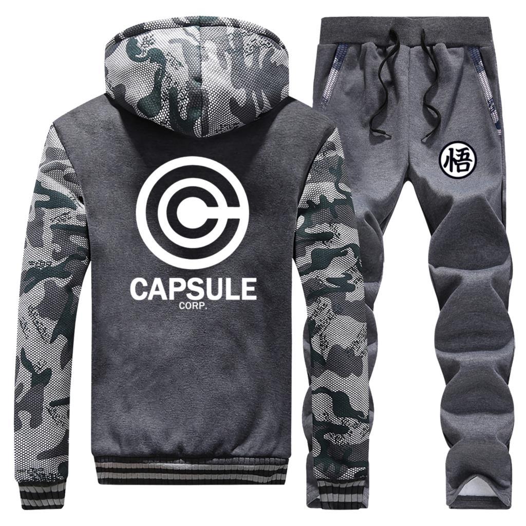 Dragon Ball New 2019 Winter Hip Hop Mens Camouflage Hoodie Cartoon Warm Jackets Suit Coat Thick Sportswear+Pants 2 Piece Set
