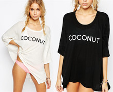 Women Fashion Bikini Cover UP T-Shirt Letter Print Irregular Cotton Beach Tops Short Swim Beachwear Dress Plus Size Black White недорого