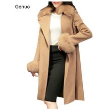 Genuo New 2020 Coats Winter Lapel Wool Outwear Trench Long Sleeve Overcoat Fashion Coats And Jackets Women