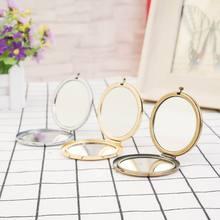 57.1mm puste okrągłe przenośne składane lustro Mini kompaktowe metalowe lustro ze stali nierdzewnej kosmetyczka 3 kolor Diy