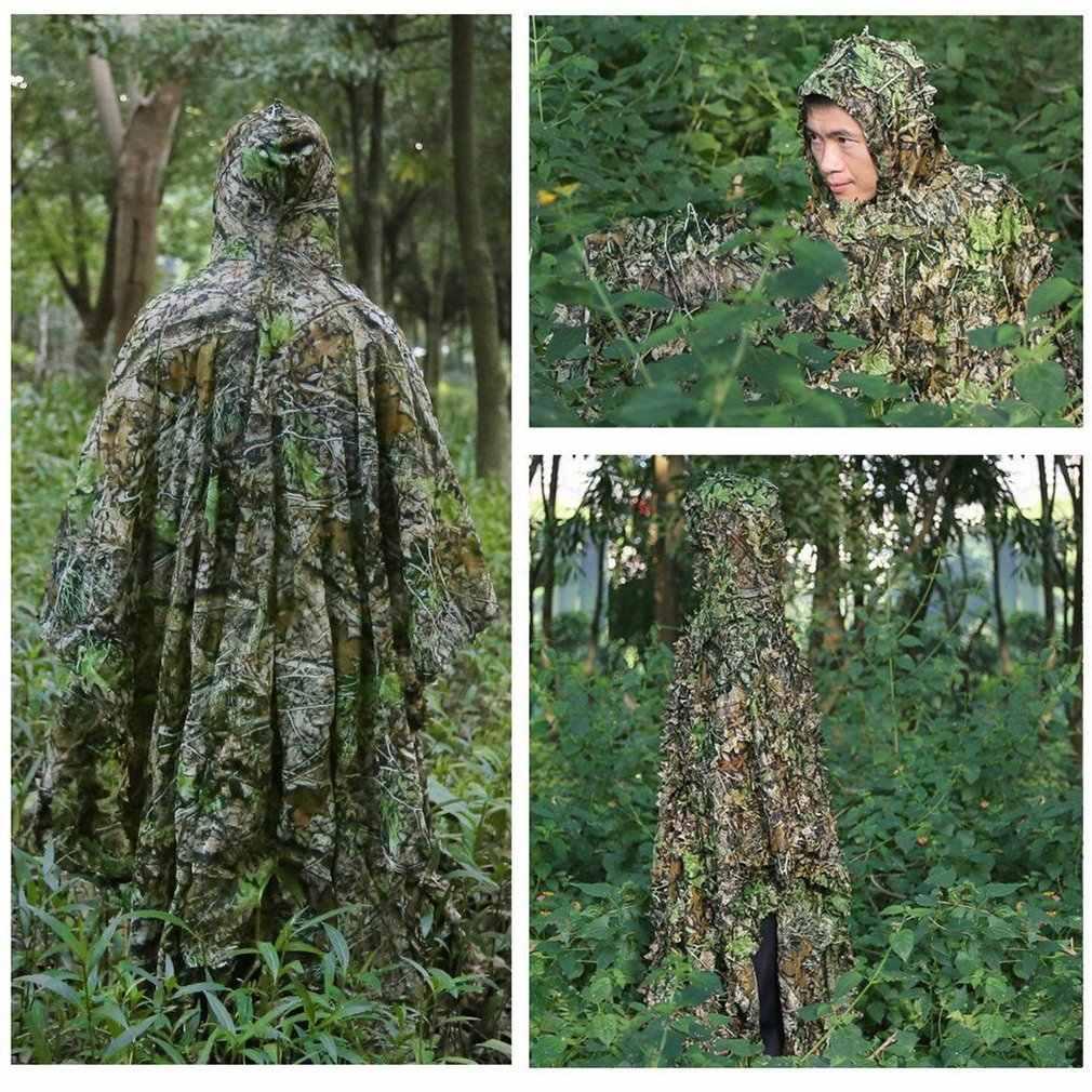 3D Daun Kamuflase Cocok Sniper Berburu Shooting Pakaian Ghillie Suitmoro Daun Poncho Jubah Siluman Jubah Seragam untuk Pria