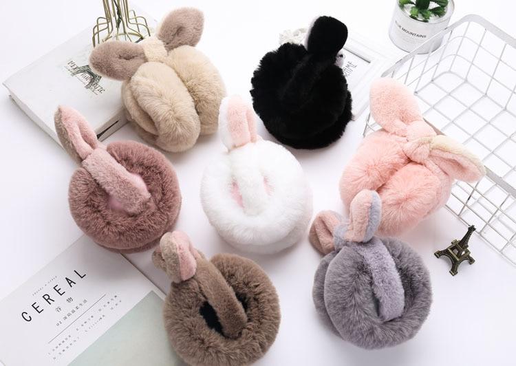 MIARA.L Foldable Earmuffs For Women Winter Plush Warm Plush Earmuffs For Korean Students